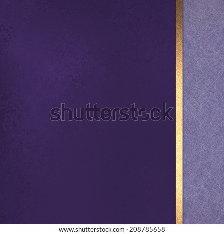 purple gold background layout design with vintage texture, gold ribbon, and sidebar