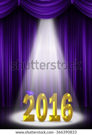 purple graduation cap on gold 2016 in spotlight with purple curtain backdrop for class of 2016