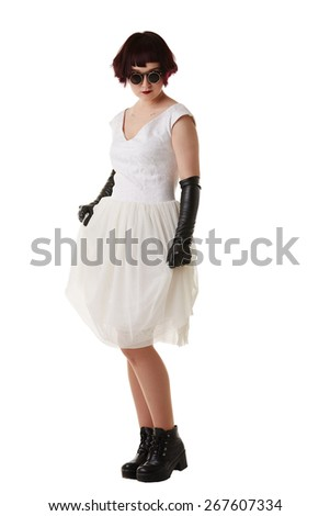 Purple-haired girl posing in gothic outfit - stock photo