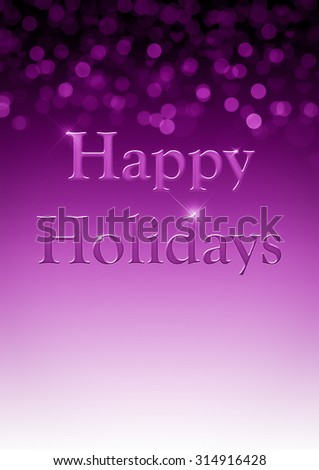 Purple Happy Holidays Background with unfocused bokeh and copy space. - stock photo