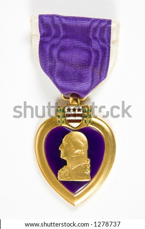 Purple Heart 14 (memorial day series) white background - stock photo