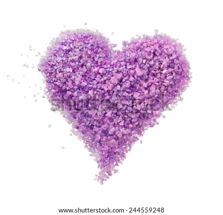 Purple heart of lavender bath salt - stock photo