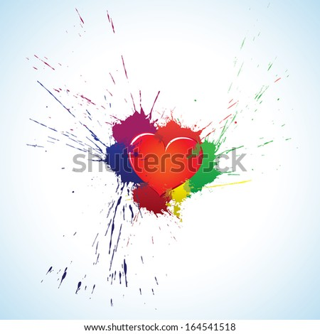 Purple heart symbol with colorful ink blots - stock photo