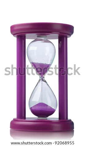 Purple hourglass isolated on white - stock photo
