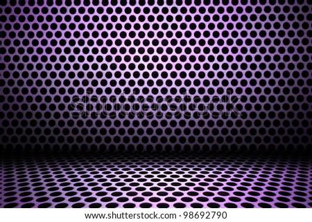 purple interior background of circle mesh pattern texture - stock photo