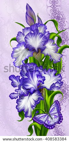 Purple irises and butterfly. Floral background. - stock photo