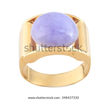 Purple jade gold ring isolated on white background. - stock photo