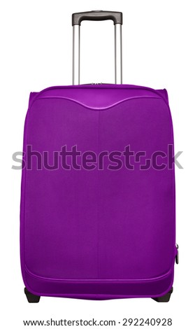 Purple journey suitcase isolated on white. Clipping path included. - stock photo