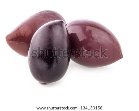 Purple Kalamata olives isolated on white background - stock photo