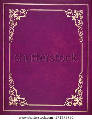 Purple leather book cover - stock photo