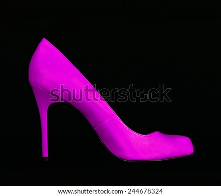 Purple Leather High Heel Shoe isolated on Black Background