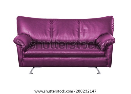 Purple leather sofa isolated on white background, work with path.