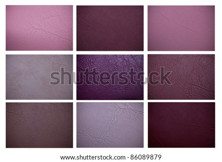 purple leather texture set for background - stock photo