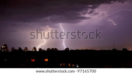 purple lightning bolts in the night skies
