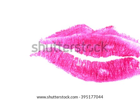 Purple lips on a white background close-up.