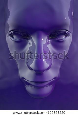 Purple Liquid Face - stock photo