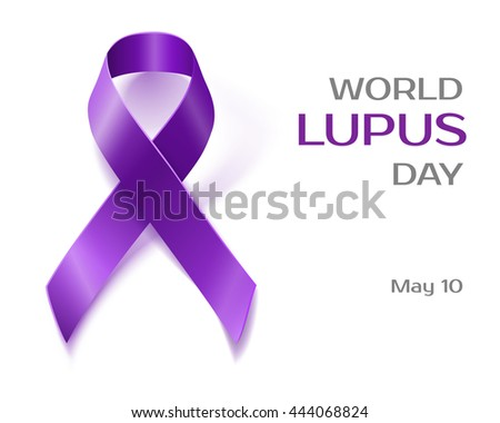 Purple Lupus awareness ribbon over a white background. World lupus day background