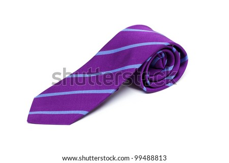Purple male tie isolated on white