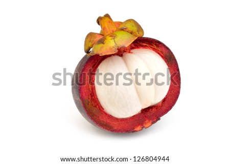 Purple mangosteen on a white background close-up - stock photo