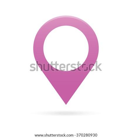 purple map pointer icon marker GPS location flag symbol - stock photo