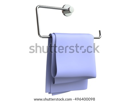 Purple napkin hanging from a napkin holder - 3D Render