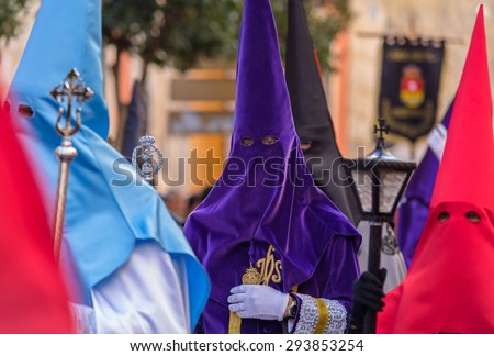 Purple Nazareno in the Good Thursday during Holy Week in Valladolid. - stock photo