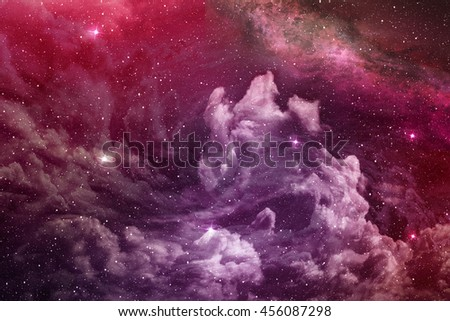 purple nebula and cosmic dust in deep space - stock photo