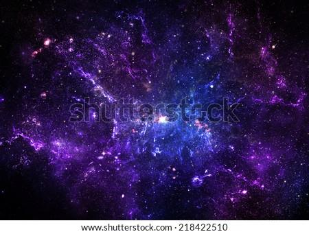 Purple Nebula - Elements of this Image Furnished By NASA - stock photo