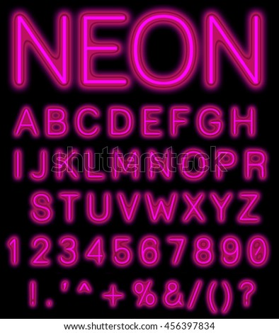 Purple Neon Alphabet Font. Light effect letters, numbers and symbols on the dark background. Vector typeface for labels, titles, posters etc. - stock photo