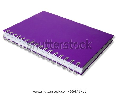 Purple note book isolated perspective with shadow - stock photo