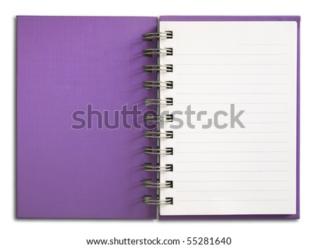 Purple Notebook vertical single white page - stock photo