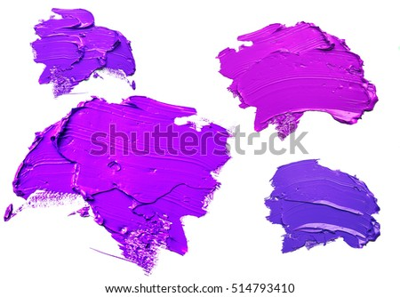 purple oil paint spot isolated on white background
