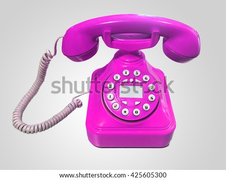 purple old-fashioned phone on isolated white background