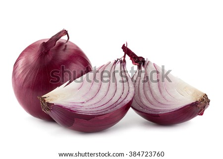 Purple onion vegetable isolated on white background