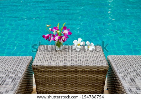 Purple orchid and Frangipani flowers in blue water background side swimming pool