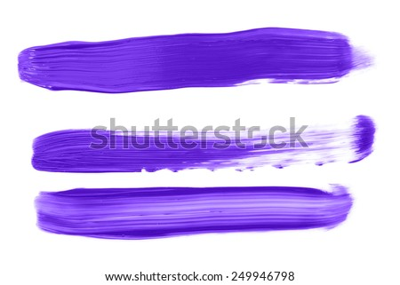 Purple paint strokes on white background made with acrylic paint - stock photo