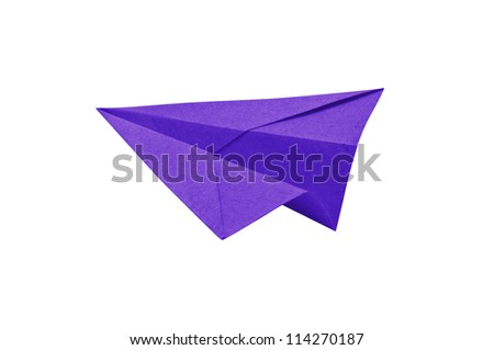 Purple Paper aircraft, Paper Plane on a white background,