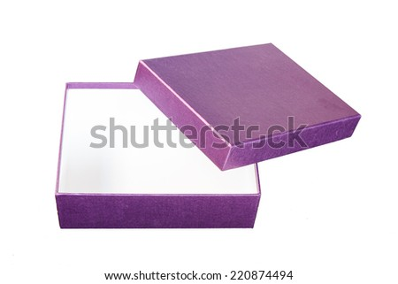 Purple paper box isolated on white background