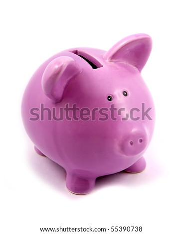purple piggy-bank isolated on white background