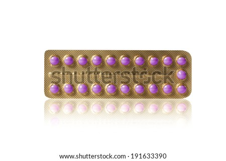 purple pills in a blister - stock photo