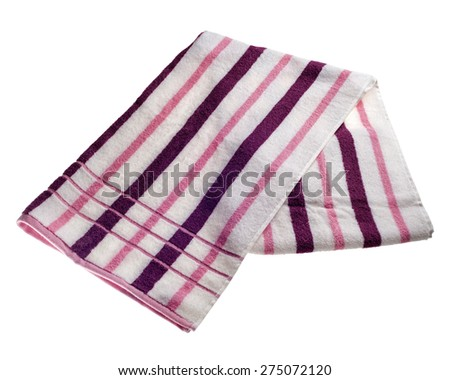 Purple, pink and white striped beach towel isolated on a white background. - stock photo