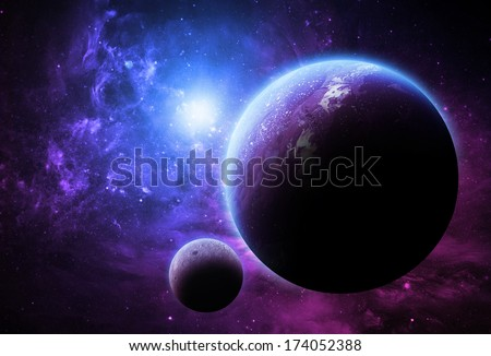 Purple Planet and Moon - Elements of this image furnished by NASA  - stock photo