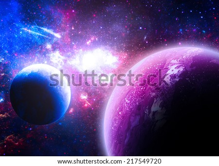 Purple Planetscape - Elements of this Image Furnished by NASA - stock photo