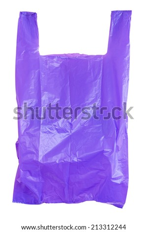 Purple plastic bag isolated on white with clipping path. - stock photo