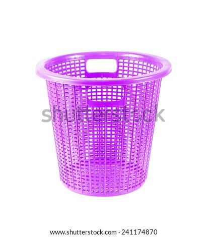 purple plastic basket  on white background - stock photo