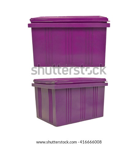 purple plastic box packaging of finished goods product on white background with clipping paths