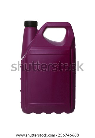 Purple plastic can isolated on white background - stock photo