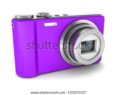 purple point and shoot photo camera isolated on white background