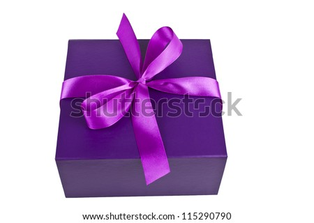 purple present box isolated on white
