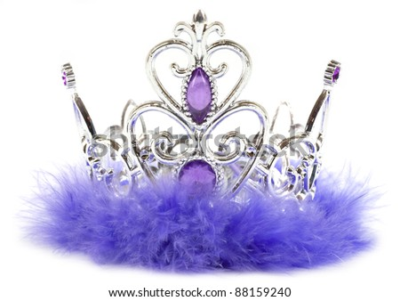 Purple princess crown isolated on white background - stock photo